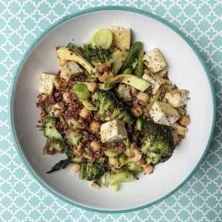 roast-green-veggies-red-quinoa-tofu-walnut-salad
