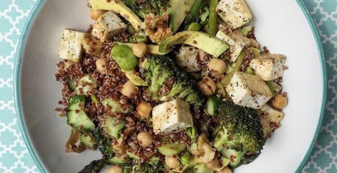 Red Quinoa, Roast Veggies, Tofu & Walnut Salad